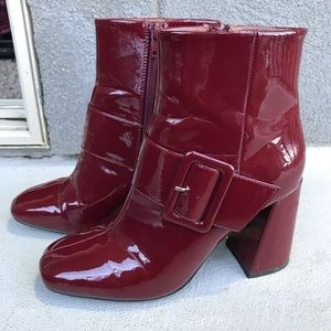 Corina red patent leather booties